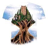 Unisex 3D Camiseta Estampada,Camisa Unisex De Manga Corta Impresa En 3D Abstract City En El Patrón De Árbol Blusa Informal Transpirable Con Cuello En O Regalo Para Mujeres Hombres Jóvenes Cumplea