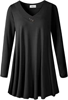 LARACE Women's Plus Size Tunic Tops Long Sleeve V Neck Blouses Basic T Shirt
