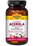 Country Life Acerola 500mg Chewable Vitamin C Complex Clean Antioxidants & Citrus Bioflavonoids For Powerful Immune Health Support - Gluten-Free, Vegan Berry Flavor - 90 Wafers