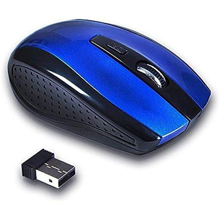 NaiCasy Pulido ratón inalámbrico portátil Ratones del ratón óptico inalámbrico 2,4 USB con el Interruptor dpi + USB 2.0 Azul Receptor, Teclado y ratón ...