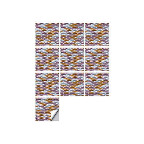 Byrhgood 10 PCS SIMULACIÓN 3D Auto Adhesivo Vinilo Papel Pantalón Peel and Stick Decorativo Calcomanías Impermeable Baño Mosaico Mosaico Pegatina (Color : FDJ004, Size : 20cmX20cmX10pcs)