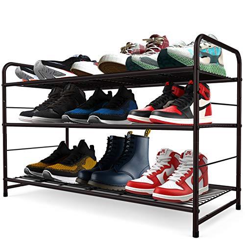 Zapatera 3 Niveles, TYC Organizador de Zapatos Apilable, Zapaterade Metal Ajustable para 9 Pares Ahorra Espacio (Bronce)(3 Niveles)
