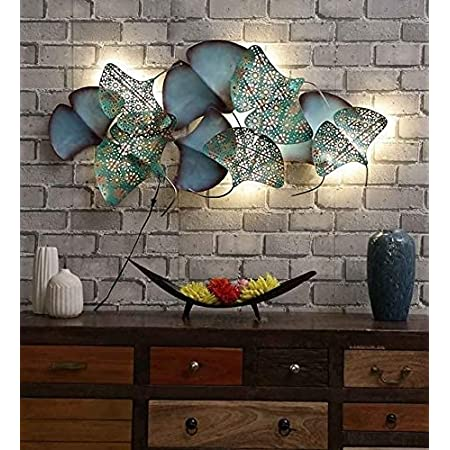 Style Home Art Rajasthani Iron Handcrafted Iron Wall Hanging Iron Metal Leaves LED Panel (22.5X2X45 in)
