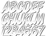 Stiffie Whipline Silver/White 3' Alpha-Numeric Registration Identification Numbers Stickers Decals for Boats & Personal Watercraft