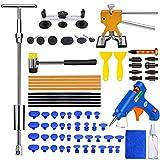 MENQANG Kit de extractor de abolladuras de coche con extractor de abolladuras dorado ajustable y extractor de abolladuras de puente, de abolladuras de barra en T de martillo deslizante para automóvil.