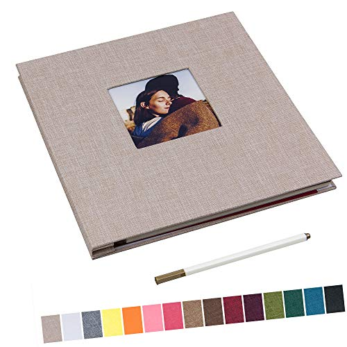 potricher 11x10.6 Inch Self Adhesive Photo Album Sticky 3x5 4x6 5x7 6x8 8x10 8.5x11 Magnetic Scrapbook Album 40 Pages Linen Cover DIY Photo Album with A Metallic Pen (Beige)