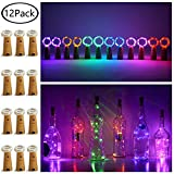 12 Pack 20 LED Wine Bottle Cork Lights, Fairy Mini String Lights Copper Wire, Battery Operated Starry Lights for DIY, Christmas, Halloween, Wedding, Party, Indoor&Outdoor (Multi Color)