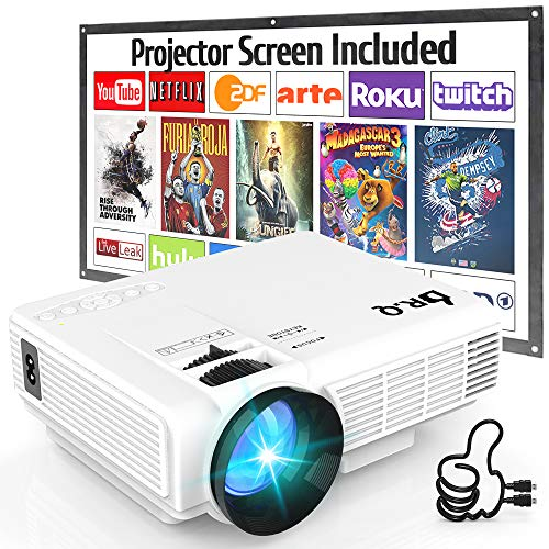 DR.Q HI-04 Beamer mit Beamer Screen, 5000 Lumens Projektor Unterstützt 1080P Full HD, Mini Native 720P HD Video Beamer Kompatibel mit TV Stick Spielkonsole HDMI VGA TF USB AV, Heimkino Beamer.