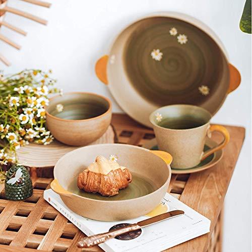 YGB Vajilla de Alta Gama, vajilla de cerámica, vajilla Hecha a Mano de gres Serie 34 Piezas |Tazones de Cereales Daisy/Platos binaurales/Taza de café con Cuchara para Regalos de Boda