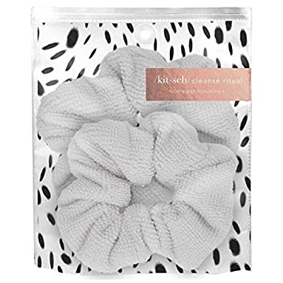 Kitsch Ultra Soft Microfiber Hair Drying Scrunchies for Frizz Free, Heatless Hair Drying, Towel Scrunchies, 2 Pack, White