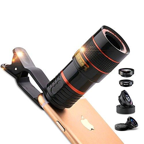 Redlemon Lentes para Celular (Kit 5 en 1): 2 Lentes Gran Angular de 170° y 130°, Telescopio Zoom 12X, Macro y Fish Eye 180°, Compatibles con Smartphone de Una Cámara. Incluye Estuche y Funda para Viaje