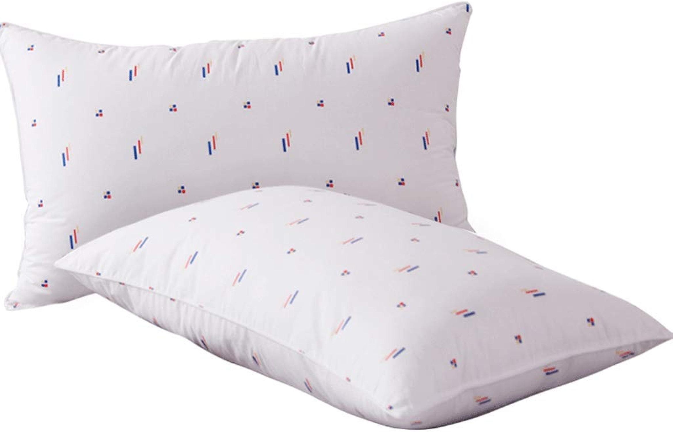 Oreiller en coton avec oreiller hypoallergénique et literie de ménage (une paire) 74x48cm (taille   High pilFaible)