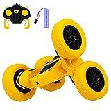 Arkmiido Macchina Telecomandata per Bambini 4WD Auto Telecomandata 360°per Bambini Acrobatica Utilizzato su Entrambi i Lati con Batteria Ricaricabile,Batteria del Telecomando x2 (Giallo)
