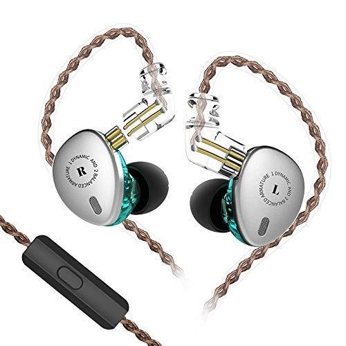 Yinyoo KBEAR KB06 IEM 2BA 1DD En el oído Triple Driver 2 Auriculares con Armadura equilibrada y 1 Controlador dinámico Alta fidelidad en Auriculares(Plata con Mic)