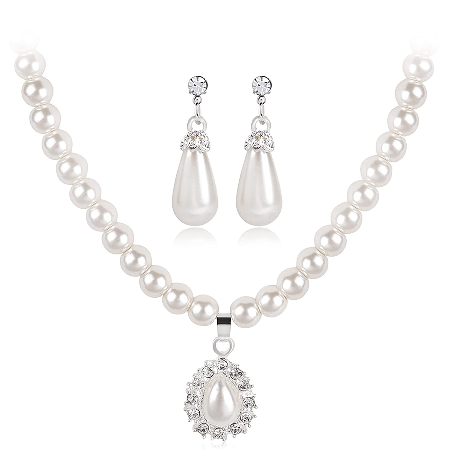 Pearl Necklace Earrings Sets Crystal Pearl Strands Bridal wedding jewelry for Women Girls (White B)