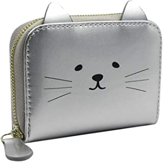 Cat pattern Design Mini Purse PU Leather Wallet with 11 Separate Pockets for Girls or Women