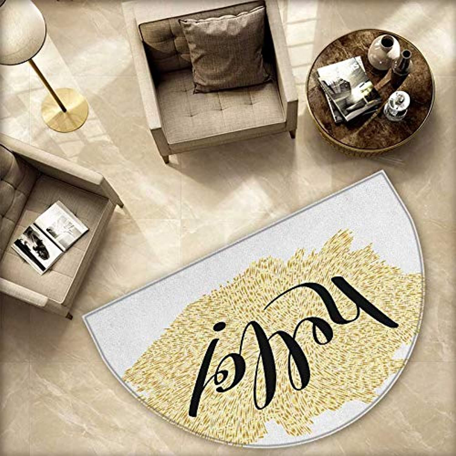 Hello Semicircle Doormat Brush Pen Lettering Hello in Black with gold color Mosaic Looking Background Halfmoon doormats H 78.7  xD 118.1  Black White gold