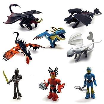 Dragons & Vikings Action Figures | Model Light Fury/Night Fury  Toothless  | Set of 8 Pcs
