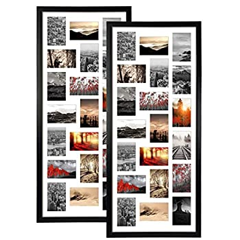 QUTREY 20 Opening 4x6 Collage Picture Frame Set of 2 18.1x41.3 inches Black Multiple Frames Display 4 by 6 inch Photos with Mat for Wall Hanging