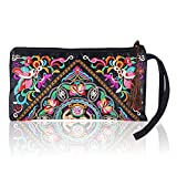 Women's Fashion Ethnic Embroider Purse Wallet Clutch Bag Phone Bag Card Coin Holder (Galsang Flower)
