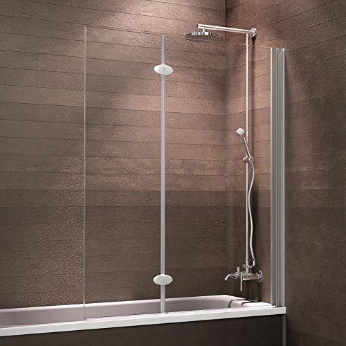 Schulte Badewannenfaltwand 2-teilig Komfort zum Kleben, 103 x 130 cm, 5 mm Sicherheitsglas (ESG) Klar hell, Alu-Natur, Duschabtrennung für Badewanne, Duschwand mit Teilrahmung