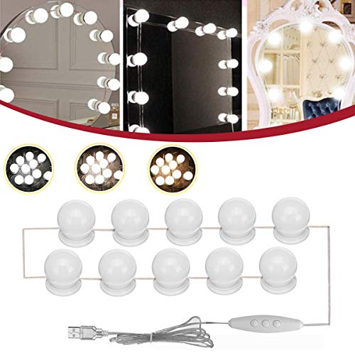 L.L.QYL Lumière LED DC5V 10PC USB Hollywood Ampoule LED Vanity Maquillage Coiffeuse Miroir Dimmable