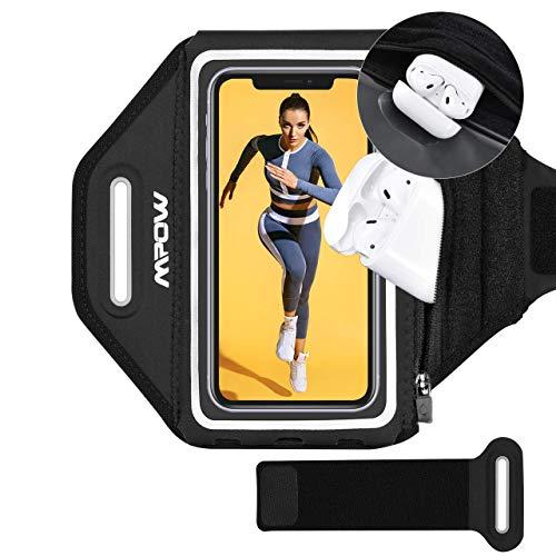 Mpow Sport-Armband Handy mit Airpods Halter für iPhone 12 bis zu 6,2 Zoll Vollbildgröße, Verstellbares Handy Armband mit Erhöhtem Speicherplatz, Schweißfest Armtasche für Laufen, Joggen, Wandern