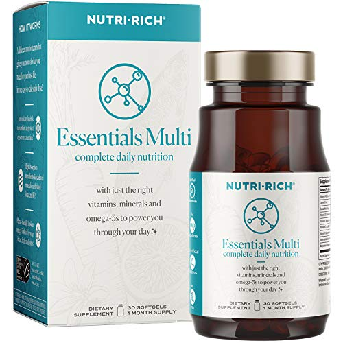 Nutri-Rich Essentials Multi for Women   Complete Daily Nutrition with Lutein for Screen Time, K2 for Bone Health, High Absorption Chelated Minerals and Sustainable Omega-3 (30 Count)