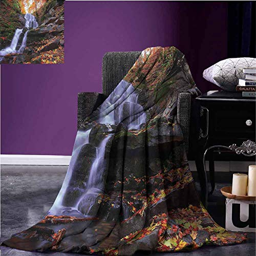 Mannwarehouse Outdoor Travel Blanket Flannel Throw Blanket Mountain and Waterfall Super Soft Reversible for Bedding W60 xL50