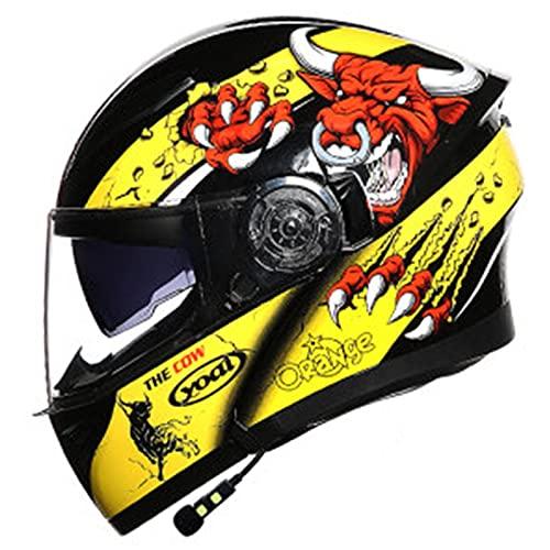 Casco Moto Modular,Casco Bluetooth Motocicleta,Casco Integral de Motocicleta,ECE Homologado Motocross Scooter Casco,Casco Moto Integrado con Función de Respuesta Automática F,M=54~56CM