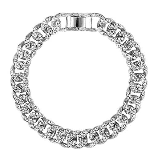 Tobillera de metal cubano con diamantes de imitación para mujer, pulsera de pie de cristal con personalidad de Hip Hop Rock, joyería de tobilleras de lujo, 002502SL