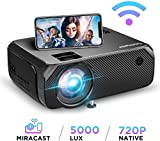 【2020 Upgrade】 Videoprojecteur WiFi 5000 Lux Native 720p Soutien Le projecteur sans Fil BOMAKER Full HD 1080P Max 300 '' Compatible avec iPhone / Android Smart Phone / iPad / Mac / Laptop / PC
