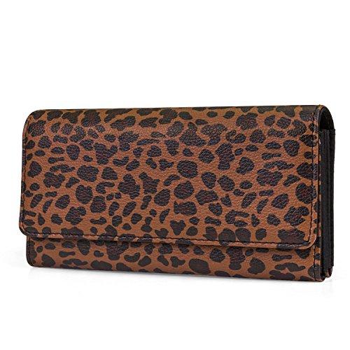 Mundi File Master Womens RFID Blocking Wallet Clutch Organizer With Change Pocket (One Size, Leopard)
