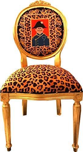 Casa Padrino Medallón Barroco Silla de Comedor Leopardo/Napoleón Dorado - Colección Luxs