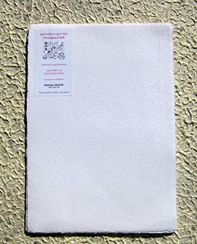 handgeschöpftes Büttenpapier Aquarellpapier A5 10 Bogen/Set extrastark 300g/m² naturweiß BaumwollLinters