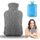 Wärmflasche mit Bezug, Amokee Wärmeflaschen mit Strickbezug Rollkragen Wärmekissen Schnelle...