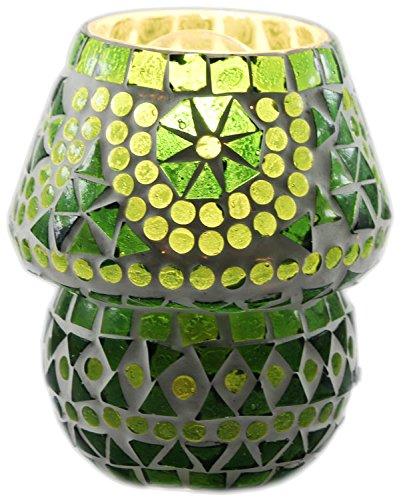 Edivine de diffuseur/Bougeoir/fabriqué à la main Festive Home Decor mosaïque en verre Bougie support avec base ronde votive Photophore, motif (# 63)