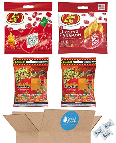 Jelly Belly Jelly Beans Super Hot and Spicy Variety Snack Peak Gift Box – Sizzling Cinnamon, Tabasco, and Firey Five