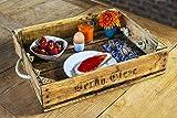 Tablett Altholz ca. 54x35 cm aus gewachstem und geöltem Holz von Obstkiste Vintage, Shabby-Chic mit Tau