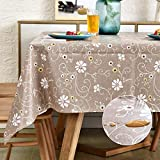 LOHASCASA Vinyl Oilcloth Tablecloth Square Wipeable Oil-Proof Waterproof PVC Tablecloth Chocolate Rose 54 x 54 Inch