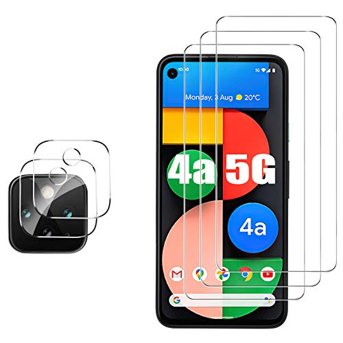 GESMA for Google Pixel 4a 5G Screen Protector and Camera Protector, [3 Screen Protector+2 Camera Protector][Touch Sensitive][NOT Fit 4a 4G] Tempered Glass Screen Protector for Google Pixel 4a 5G(Clear)