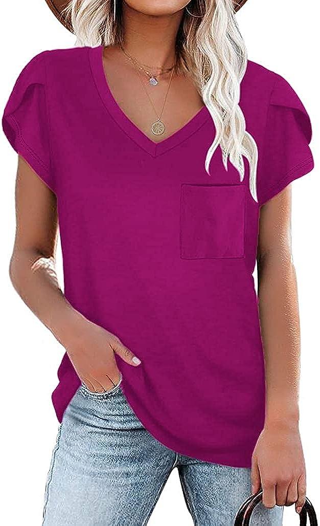 Locryz Women's Petal Sleeve V-Neck Shirts Summer Casual Tee T-Shirt Tops with Pocket S-2XL