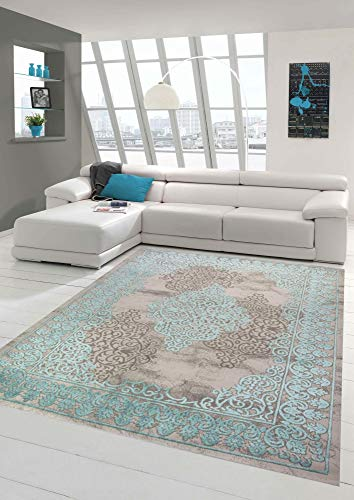 Merinos Wohnzimmerteppich mit Ornamenten Teppich Vintage in Türkis Grau Größe 80 x 300 cm