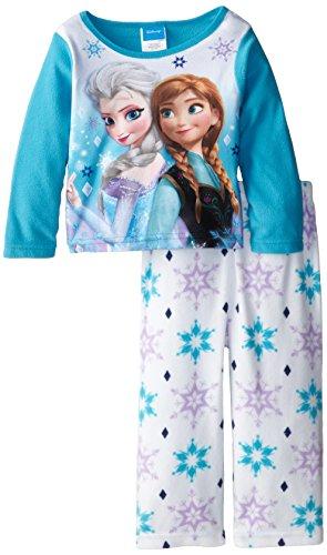 Disney Little Girls Toddler Frozen Anna and Elsa Cozy Fleece Pajama Set