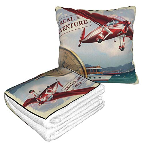 KIMDFACE Manta de Viaje súper Suave,Cita de Aventura Real con Costa y un Viaje en avión Rojo con temática de Viaje,Manta Plegable,Almohada cómoda