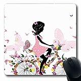 Alfombrilla para ratón para bicicleta Bicicleta oblonga Chica con vestido rosa Andar en bicicleta con flores de colores Mariposas románticas Alfombrilla de goma antideslizante multicolor para ratón Or