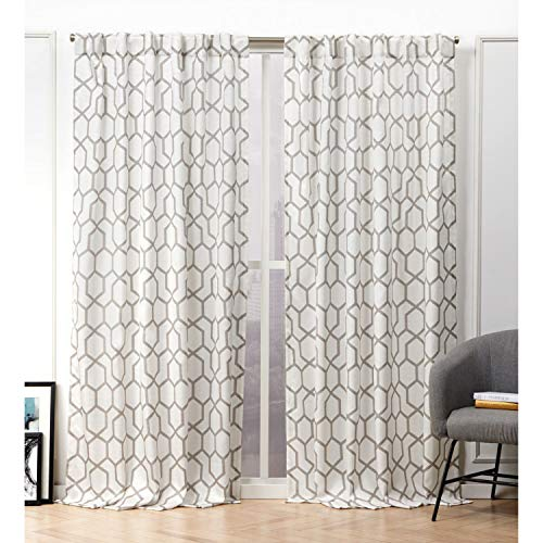 Nicole Miller Hexa Curtain Panel, 54x96, Natural, 2 Panels