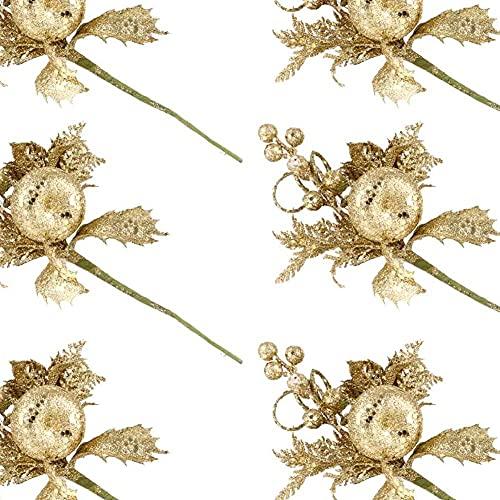 xiaoyu shop 6 piezas de púas de bayas de Navidad con purpurina dorada, bayas de acebo artificiales, ramas para Navidad, manualidades, guirnalda, decoración del árbol de Navidad