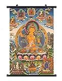 WholesaleSarong Manjushree Bodhisattva with pancha Buddha Tibetan thangka Cloth Fabric Poster Wall Hanging Scroll 24 x 16 inch
