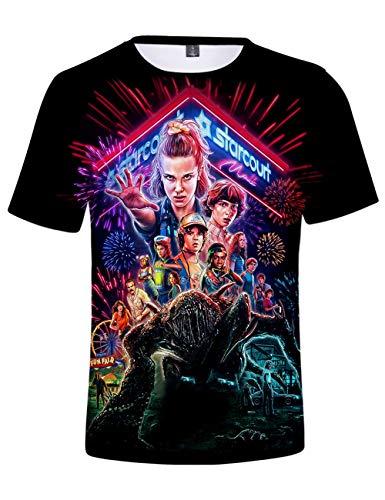 Stranger Things T Shirt, Stranger Things Saison 3 Tee Shirt Homme T-Shirt Unisexe Femme Imprimé en 3D Manche Courtes Été Haut Fille Créatif Tops Fan de Film (F,XXS)